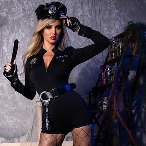 Naughty Police Halloween Romper Costume Sz M/L